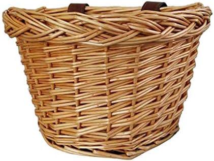 Timagebreze レザーストラップ付きレトロ、手作り、籐製自転車フロントバスケット、ファッション子供用自転車フロントバスケット