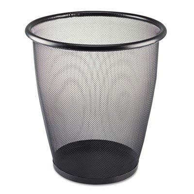 Safco® - Onyx Round Mesh Wastebasket, Steel Mesh, 5 gal, Black - Sold As 1 Each - Contemporary, yet practical - Mesh Wastebasket Round Onyx