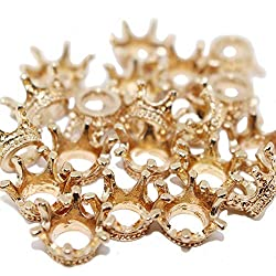 Dedila 20pcs 3D Flat Gold Mini Lovely Alloy Crown Charms Pendants DIY Vintage Charms Findings Pendant for Crafting (3D)