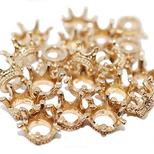 Dedila 20pcs 3D Flat Gold Mini Lovely Alloy Crown Charms Pendants DIY Vintage Charms Findings Pendant for Crafting (3D) -