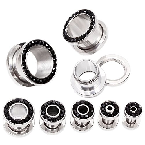 PiercingJ 3-14mm Punk Rhinestone Crystal Screw Tunnels Ear Expander Stretch Plugs Piercing Gauge (0g=8mm ()