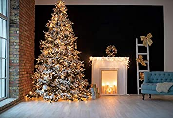 YongFoto 10x8ft Christmas Vinyl Backdrop Fireplace Glitter Tree Wood Floor Sofa Indoor Room Photography Background Party Theme Banner Family Home Decor Poster Portrait Photo Shoot Studio