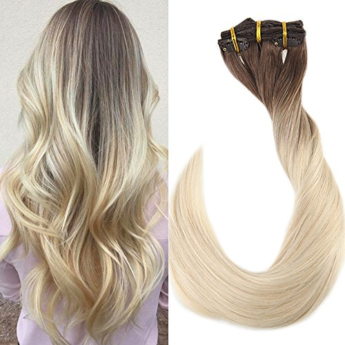 Fshine 22 inch 10 Pcs 120 Grams Clip in Balayage Extensions Remy Human Hair Color #7B Fading to #613 Thick Clip in Remy Hair Extensions Double Weft Real Straight Hair ()