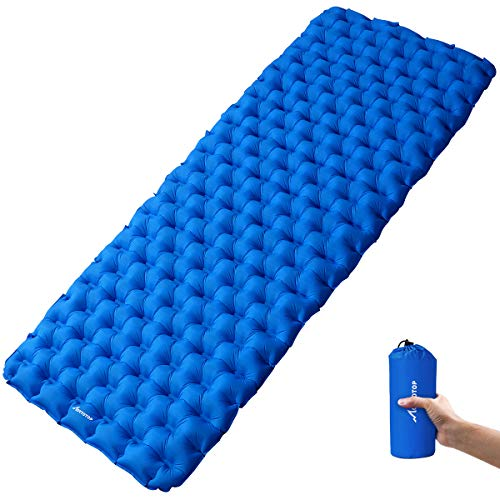 MOVTOTOP 【Newest 2019 Sleeping Pad, Larger Inflatable Camping Mat with Repair Kit(74.8 x 26.7 x 2.4in) - Lightweight and Compact Camping Mattress for Backpacking, Traveling and Hiking (Blue)