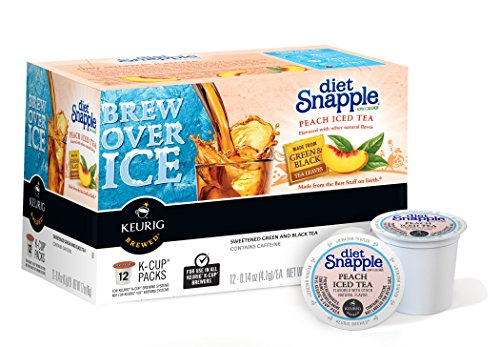 Snapple Diet Peach Iced Tea Keurig Single-Serve K-Cup Pods, 72 Count (6 Boxes of 12 Pods)