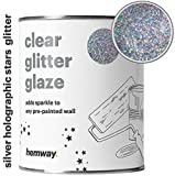 how to paint house exterior Hemway 1L Clear Glitter Paint Glaze for Pre-Painted Walls Acrylic, Latex, Emulsion, Ceiling, Wood, Varnish, Dead flat, Matte, Soft Sheen or Silk (34 Variations) (Silver Holographic Stars)