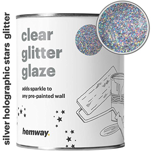Hemway 1L Clear Glitter Paint Glaze for Pre-Painted Walls Acrylic, Latex, Emulsion, Ceiling, Wood, Varnish, Dead flat, Matte, Soft Sheen or Silk (34 Variations) (Silver Holographic Stars)