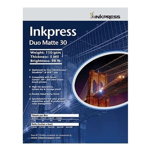 Inkpress Duo Matte 44 Inkjet Printer Paper, Double Sided, 180gsm, 9mil, 95% Bright, 8.5x11, 50 Sheets by Inkpress