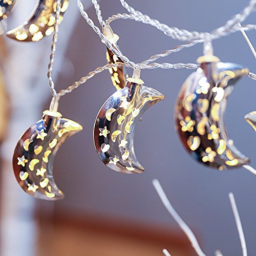 [Christmas Festival 10 LED Fairy String Lights, Battery Operated (Moon)] (Halloween Animatronics Sale)