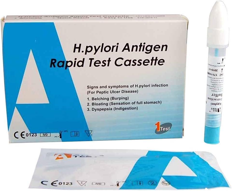 ALLTEST® Prueba de salud del estómago Pantalla para úlcera/H Pylori ANTIGENO – Úlcera de estómago – Kit de prueba para el hogar de heces ~ Detección ...