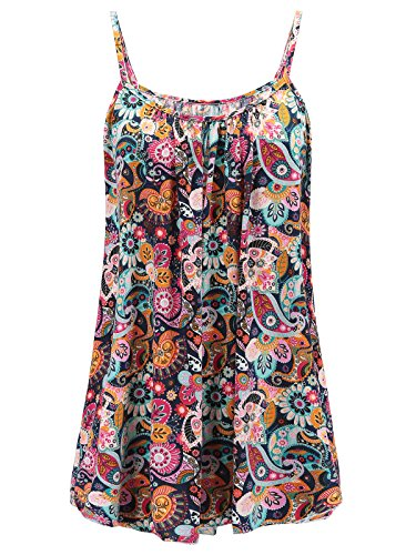 7th Element Womens Plus Size Cami Basic Camisole Tank Top (Floral Print - Boho 01,4XL) by 7th Element