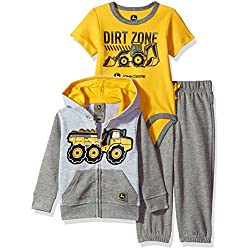 John Deere Baby Boys' 3 Piece Jacket Bodysuit Pant Set, Grey, 12-18 Months