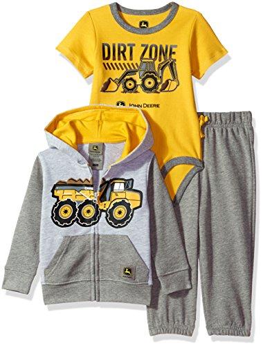 John Deere Baby Boys' 3 Piece Jacket Bodysuit Pant Set, Grey, 3-6 Months