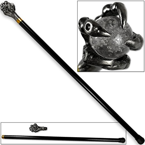 (Epic Dragon's Grasping Claw Walking Cane Sword 35.5in Staff w Acrylic Ball)