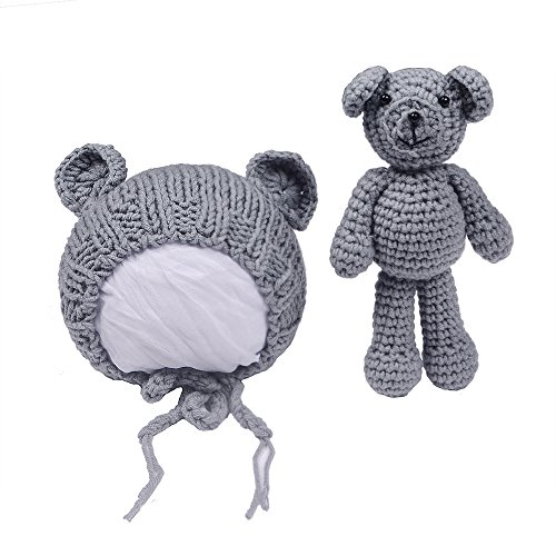 EUDORA Crochet Newborn Photography Boys/Girls Knit Toy Bear Hats, Infant Baby Photo Prop Costume Khaki