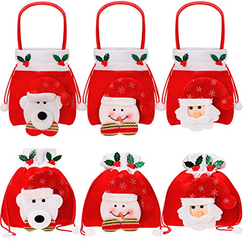 Boao 6 Pieces Christmas Gift Bags Drawstring Bags, Xmas Santa Reindeer Snowman Treat Bags for Party Favors Gifts and Candy