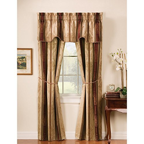 Window Accents 5-Piece Tuscan Scroll Stripe Jacquard Rod Pocket Set, 56 by 63-Inch, Autumn by Window Accents (5 Stripe Tuscan)