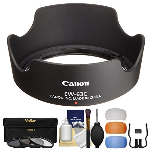 Canon EW-63C Lens Hood for EF-S 18-55mm f/3.5-5.6 is STM with 3 UV/CPL/ND8 Filters + Flash Diffusers + Cleaning Kit