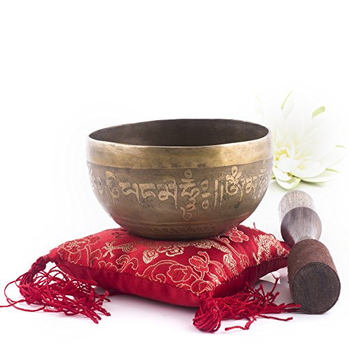 Silent Mind ~ Hand Hammered B Crown Chakra Tibetan Singing Bowl Set ~ For Chakra Healing, Prayer ,Yoga, and Mindfulness ~ Lotus Flower Mallet & Cushion ~ Handmade In Nepal ~ Perfect Gift