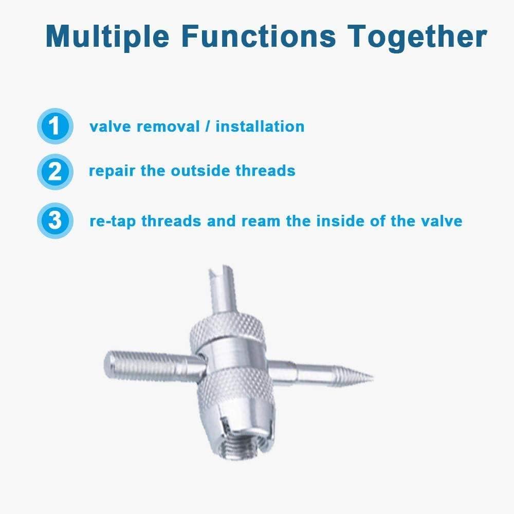 1 Pcs 4-Way Valve Tool Tire Valve Stem Puller Tools Set 2 Pcs Dual Head Valve Core Remover 1Pcs Valve Core Wrench 15 Pcs TR412 Tubeless Snap-in Valve Stems