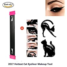Eyeliner Stamp Easy to Makeup Tool Cat Eye Winged Stamps 2 pc Set Natural Eye Makeup tool with 2 in 1 Cat Eyeliner Stencil Smoky Eyeshadow Applicators Template Plate by Lemoncy (2 pc)