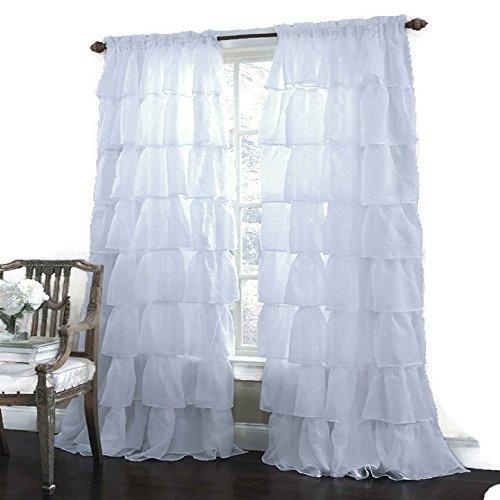 1 pc Window Curtain White Gypsy Cushy Treatment Panel Drapes 55