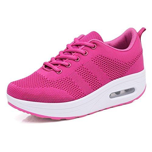 SHINIK Zapatillas de running para mujer, Comfort Sneakers Transpirables y usables Zapatillas de deporte sport Blanco, Negro, Violeta oscuro, Rosa roja Do