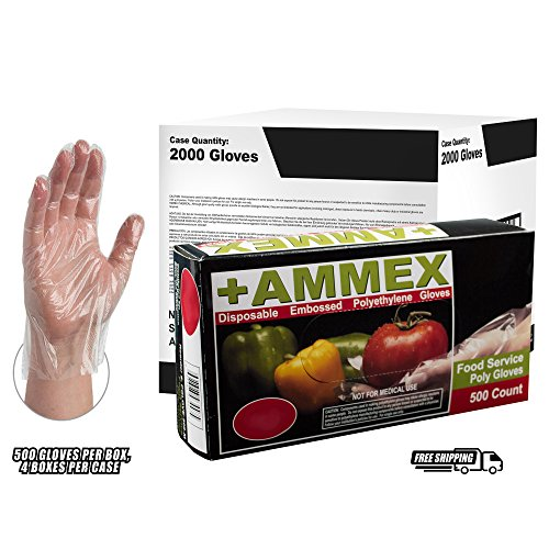 AMMEX - PGLOVE-S-500-MC - Poly Gloves - Disposable, Food Service, 1 mil, Small, Clear (Mastercase of 10000) by Ammex