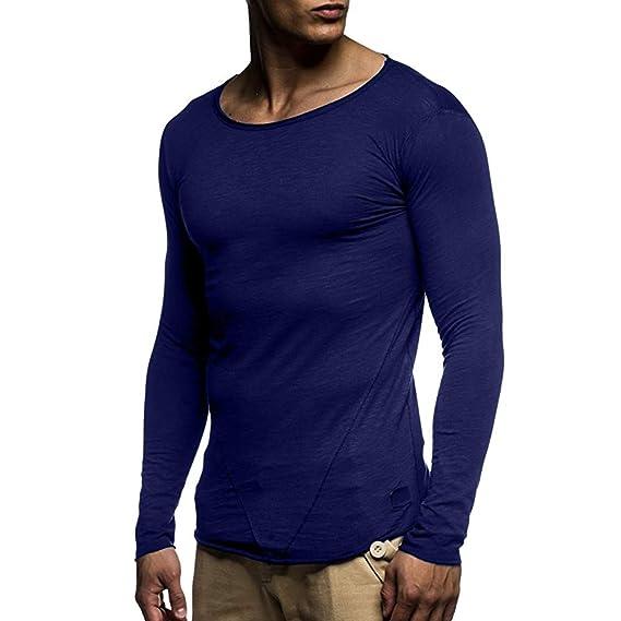 BaZhaHei-Camisetas de hombre, Hombres Otoño Invierno O Cuello de Manga Larga Delgada Remiendo