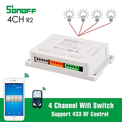 Smart Sonoff 4CH Pro R2 Smart Switch 4 Channels 433MHz 2 4G Wifi Remote  Control automation modules 90-250V AC(50/60Hz)/5-24V DC Support Alexa Nest  and