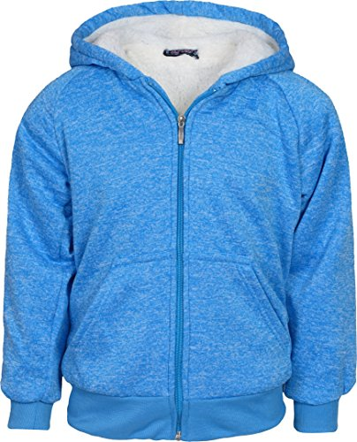Real Love Girl\\\'s Fleece Sherpa Lined Hooded Sweatshirt, Marled Turquoise, Size 14/16\'' (Sweatshirt Drawstring Sherpa)