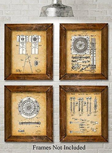 Pub Decor (Original Darts Patent Art Prints - Set of Four Photos (8x10) Unframed - Great Gift for Game Rooms, Man Caves, Home Bar Pub Decor)