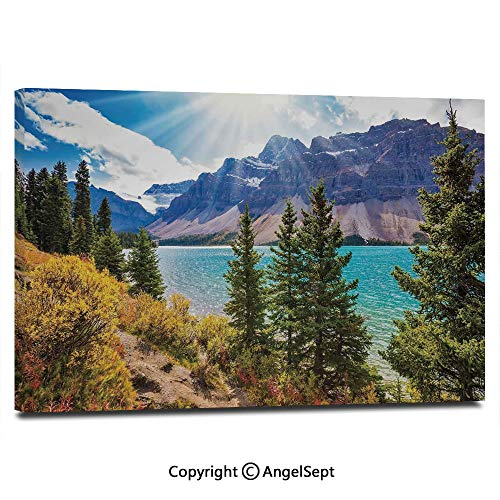 Canvas Prints Modern Art Framed Wall Mural National Park Banff Canadian Rockies Mountain Trees Glacial Lake Sunny Sky Wall Decorations for Living Room Bedroom Dining Room Bathroom Office,Aqua Mauve (Canadian National Hotels)