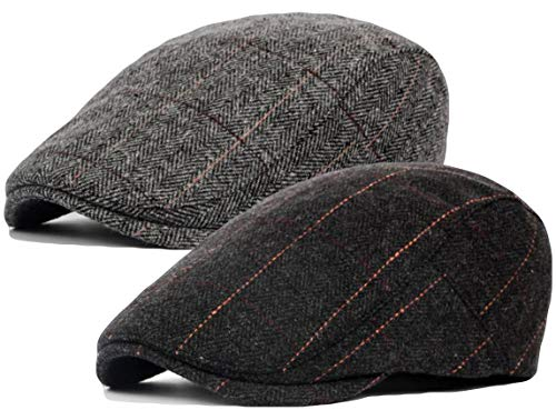 (Qunson 2 Pack Mens Tweed Wool Blend Flat Cap Ivy Gatsby Newsboy Hat)