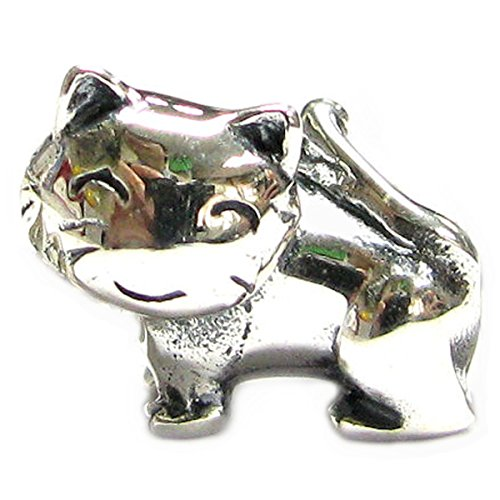 Queenberry Sterling Silver Lovely Kitty Kitten Cat Animal 3D Bead For European Charm Bracelets (Italian Kitty Charm)