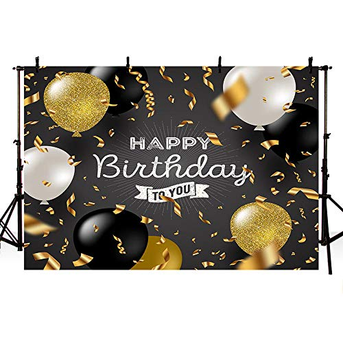 MEHOFOTO 7x5ft Birthday Banner Photography Backdrops Kids Adult Happy Birthday to You Party Backdrop Gold Black Silver Balloon Ribbon Backdrops for Photography -