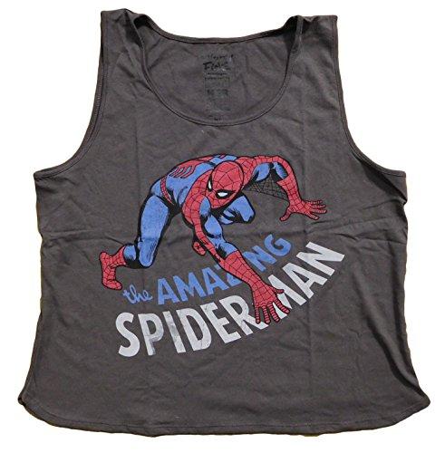 Marvel Comics Spider-man Juniors Loose Crop Top Tank (L, Gray)