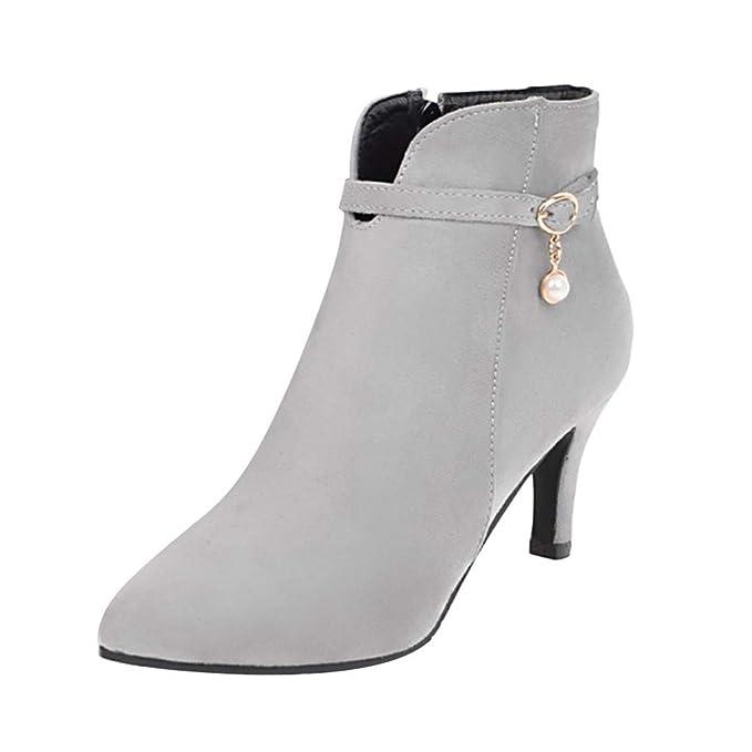Zapatos Mujer Cremallera Lateral para Mujer Botas de tacón Alto Hebilla de cinturón Botines Zapatos de tacón de Aguja Botas QINGXIA_ZI: Amazon.es: Ropa y ...
