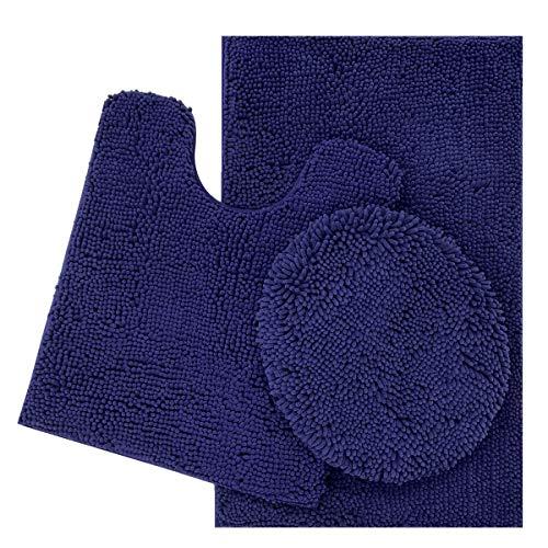 ITSOFT 3pc Non-Slip Shaggy Chenille Bathroom Mat Set, Includes U-Shaped Contour Toilet Mat, Bath Mat and Toilet Lid Cover, Machine Washable, Navy Blue - Navy Blue Chenille