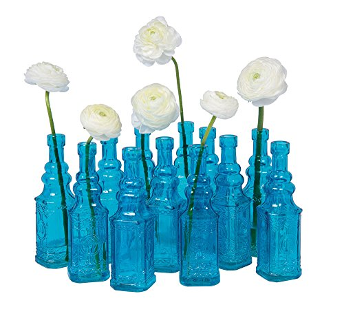 Luna Bazaar Small Vintage Glass Bottle (6.5-Inch, Ella Square Design, Turquoise Blue) - Flower Bud Vase - For Home Decor, Party Decorations, and Wedding Centerpieces