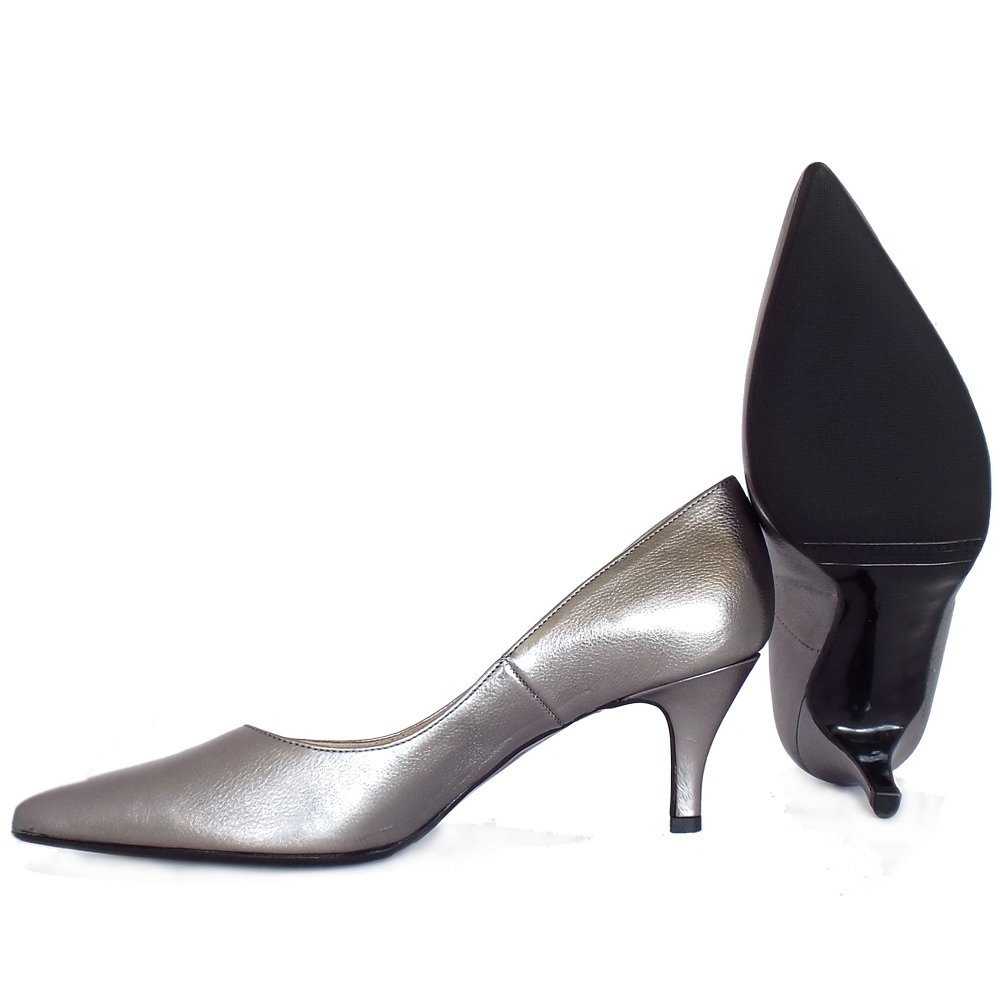 4544ed3e733 Peter Kaiser Soffi Dressy Pointy Toe Mid Heel Court Shoes in Silver Leather  8 SILVER  Amazon.co.uk  Shoes   Bags