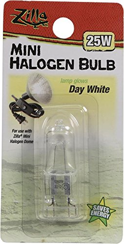 Zilla Reptile Terrarium Heat Lamps Mini Halogen Bulb, Day White, 25W