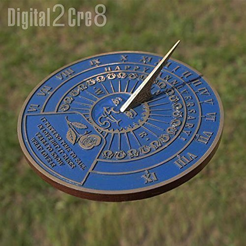 Garden Sundial for outdoor with your message cast into it. Custom personalized gift for birthday, anniversary ()