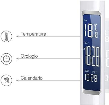 Bakaji Lampada da Tavolo Scrivania con Calendario Orologio Sveglia Digitale Accensione Touch Luce a LED Intensit/à Regolabile Collo Flessibile Ergonomico Nero