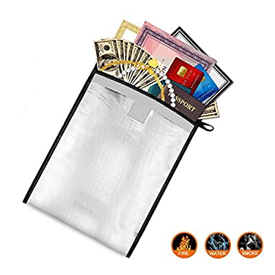 Fireproof Bag Fireproof Water Resistant Pouch, NON-ITCHY Fiberglass Fire Resistant Money Bag, Fireproof Safe Storage for Document, Home, Cash, Birth Certificate, Passport, Valuables(13'' x 10'')