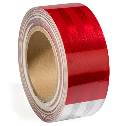 2'' X 50 ft Reflective Safety Tape DOT Approved Red White For Trailers 2 Inch - Reflector Tape High Intensity Grade Trailer Trucks Auto Reflectors -Typhon East by Typhon East