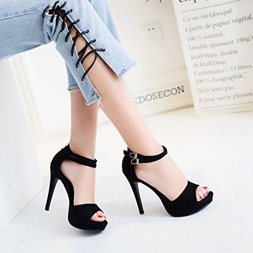 Stiletto Platform Ladies Sandals Ankle Heel Shoes Womens High Peep Black Toe size Strap q6w1nxpEtn