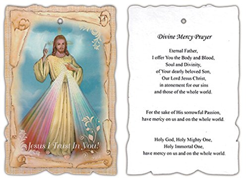 Wooden Divine Mercy Wall Plaque with Prayer, 5 3/4 Inch ()