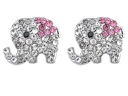 Alilang Silvery Tone Clear Crystal Colored Rhinestones Elephant Stud Earrings