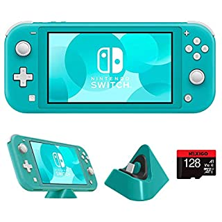 """Nintendo 2020 Switch Lite Console Family Christmas Holiday Bundle - Turquoise, 5.5"""" Touchscreen Display, Built-in Plus Control Pad, Bluetooth 4.1, NexiGo 128GB MicroSD Card + Charging Station Bundle"""